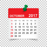 Τον Οκτώβριο του 2017 ημερολόγιο Στοκ Φωτογραφίες