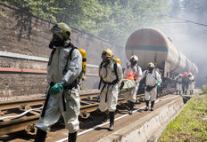 Τοξικοί άνθρωποι διάσωσης έκτακτης ανάγκης χημικών ουσιών Στοκ Εικόνες