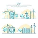 Τοπία πόλεων οικολογίας, αστικά σπίτια eco εναλλακτική ενέργεια Στοκ Φωτογραφίες