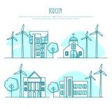 Τοπία πόλεων οικολογίας εναλλακτική ενέργεια επίσης corel σύρετε το διάνυσμα απεικόνισης Στοκ Εικόνα