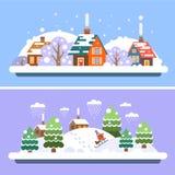 Τοπία χειμερινών χωριών Στοκ Εικόνες