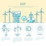 Τοπία Ecocity, αστικά σπίτια εναλλακτική ενέργεια Στοκ εικόνα με δικαίωμα ελεύθερης χρήσης