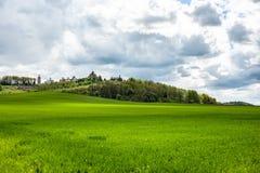 Τοπίο άνοιξη με την πράσινους χλόη, τους λόφους και τα δέντρα, νεφελώδης ουρανός στοκ φωτογραφίες