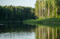 Τοπίο άνοιξη στη λίμνη στην περιοχή Kaluga (Ρωσία) Στοκ Εικόνες