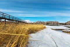 Τοπίο άνοιξη στο σιβηρικό ποταμό Δυτική Σιβηρία, Ρωσία στοκ φωτογραφία