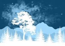 Τοπίο, δέντρα και βουνά Στοκ Εικόνες
