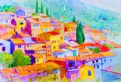 Τοπίο έργων ζωγραφικής Watercolor της του χωριού άποψης σχετικά με το βουνό λόφων απεικόνιση αποθεμάτων