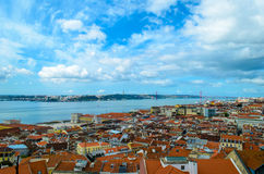 Τοπίο από το ST George castel στη Λισσαβώνα Στοκ εικόνα με δικαίωμα ελεύθερης χρήσης