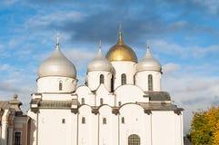 Τοπίο αρχιτεκτονικής Veliky Novgorod Ρωσία - του καθεδρικού ναού Αγίου Sophia, άποψη κινηματογραφήσεων σε πρώτο πλάνο Στοκ Φωτογραφία