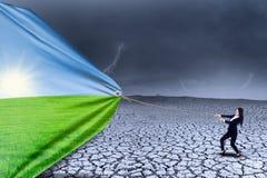 Τοπίο αλλαγής επιχειρηματιών από ξηρό στην άνοιξη Στοκ Εικόνα