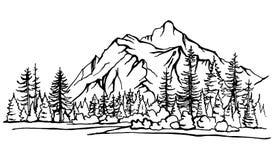 Τοπίο βουνών, δασικό σκίτσο δέντρων πεύκων Στοκ Εικόνες