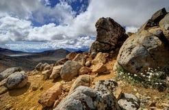 Τοπίο βουνών, αλπικό πέρασμα Tongariro Στοκ Φωτογραφία