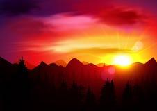 Τοπίο βουνών ηλιοβασιλέματος διανυσματική απεικόνιση