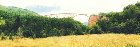 Τοπίο βουνών, Μαυροβούνιο Γέφυρα τόξων της Tara Durdevica στα βουνά, μια από τις υψηλότερες αυτοκινητικές γέφυρες στην Ευρώπη Στοκ εικόνες με δικαίωμα ελεύθερης χρήσης