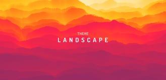 Τοπίο βουνών με μια αυγή Ηλιοβασίλεμα Ορεινή έκταση Σκιαγραφία λόφων αφηρημένη ανασκόπηση επίσης corel σύρετε το διάνυσμα απεικόν απεικόνιση αποθεμάτων
