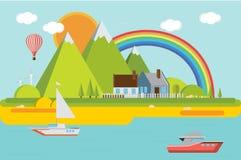 Τοπίο βουνών με τη θάλασσα επίσης corel σύρετε το διάνυσμα απεικόνισης Στοκ Εικόνες