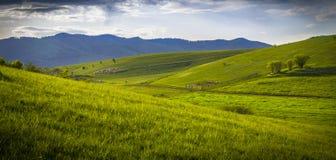 Τοπίο βουνών με το sheepfold στον πράσινο χορτοτάπητα Στοκ Εικόνες