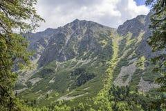 Τοπίο βουνών μια νεφελώδη ημέρα με τα σύννεφα βροχής Βουνά Tatra Στοκ Φωτογραφίες