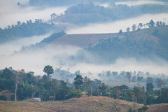 Τοπίο βουνών ξημερωμάτων με το σπίτι, τα δέντρα και την ομίχλη σε Umphang Επαρχία γιων της Mae Hong, Ταϊλάνδη στοκ φωτογραφία