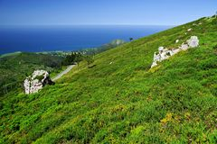 Τοπίο βουνών στο εθνικό πάρκο Picos de Ευρώπη, αστουρίες στοκ εικόνα με δικαίωμα ελεύθερης χρήσης