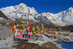 Τοπίο βουνών χιονιού στο Ιμαλάια Νότια αιχμή Annapurna, πίνακας στρατόπεδων βάσεων Annapurna Στοκ φωτογραφία με δικαίωμα ελεύθερης χρήσης