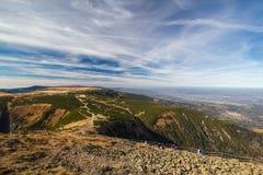 Τοπίο βουνών Karkonosze φθινοπώρου Στοκ Εικόνα