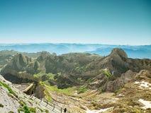 Τοπίο βουνών Saentis, ελβετικές Άλπεις Στοκ Φωτογραφίες