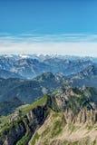 Τοπίο βουνών Saentis, ελβετικές Άλπεις Στοκ Φωτογραφία