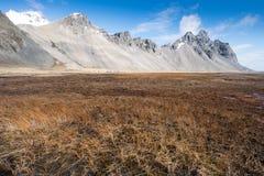 Τοπίο βουνών Vesturhorn σημείο της Ισλανδίας Στοκ Φωτογραφίες