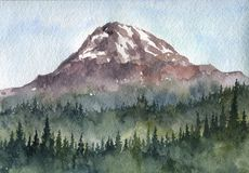 Τοπίο βουνών Watercolor Στοκ εικόνα με δικαίωμα ελεύθερης χρήσης