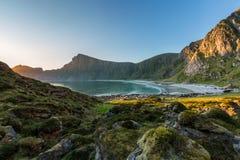 Τοπίο βραδιού με την παραλία Στοκ Εικόνες