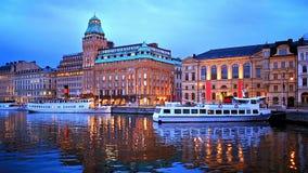 Τοπίο βραδιού της Στοκχόλμης, Σουηδία απόθεμα βίντεο
