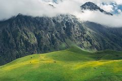 τοπίο γραφικό Πράσινοι λόφοι, λιβάδι και βουνά στα σύννεφα Elbrus, βόρειος Καύκασος, Ρωσία Στοκ φωτογραφίες με δικαίωμα ελεύθερης χρήσης
