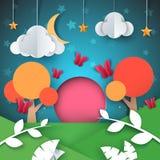Τοπίο εγγράφου κινούμενων σχεδίων Σύννεφο, αστέρι, φεγγάρι, απεικόνιση δέντρων Στοκ Εικόνα