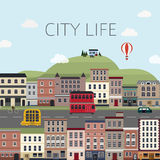 Τοπίο εικονικής παράστασης πόλης στο επίπεδο σχέδιο Στοκ Εικόνα