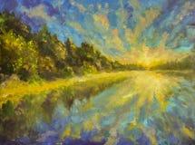 Τοπίο ελαιογραφίας - αυγή ηλιοβασιλέματος πέρα από τη θάλασσα ποταμών νερού λιμνών Οι ακτίνες του ήλιου απεικόνισαν στο νερό Πράσ ελεύθερη απεικόνιση δικαιώματος