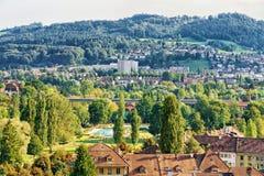 Τοπίο Ελβετός πόλεων της Βέρνης Στοκ εικόνα με δικαίωμα ελεύθερης χρήσης