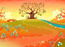 Τοπίο επαρχίας με το δέντρο στο ηλιοβασίλεμα ελεύθερη απεικόνιση δικαιώματος