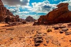 Τοπίο ερήμων ρουμιού Wadi, Ιορδανία Στοκ εικόνες με δικαίωμα ελεύθερης χρήσης
