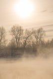 Τοπίο ελαφριάς ομίχλης χειμερινού παγετού στον ποταμό Στοκ Φωτογραφία