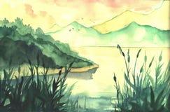 Τοπίο ζωγραφικής Watercolor Στοκ Εικόνες