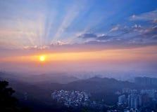 Τοπίο ηλιοβασιλέματος πόλεων της Ταϊπέι Στοκ Εικόνα
