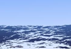 Τοπίο θάλασσας με τα μεγάλα κύματα διανυσματική απεικόνιση