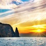 Τοπίο θάλασσας με το ηλιοβασίλεμα Στοκ εικόνα με δικαίωμα ελεύθερης χρήσης