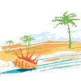 Θάλασσα, άμμος, φοίνικας, παραλία Στοκ Εικόνες