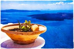 Τοπίο θάλασσας Santorini - έργο τέχνης στο ύφος ζωγραφικής Στοκ Φωτογραφίες