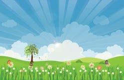 Τοπίο θερινών λιβαδιών άνοιξης με τις ακτίνες και τα λουλούδια ήλιων Στοκ εικόνες με δικαίωμα ελεύθερης χρήσης
