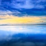 Τοπίο λιμνοθαλασσών ηλιοβασιλέματος. Orbetello, Monte Argentario, Τοσκάνη Ιταλία. Στοκ φωτογραφίες με δικαίωμα ελεύθερης χρήσης