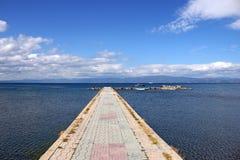 Τοπίο λιμνών της Οχρίδας αποβαθρών Στοκ Φωτογραφίες