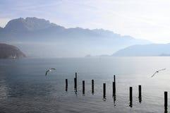Τοπίο λιμνών του Annecy στη Γαλλία Στοκ φωτογραφία με δικαίωμα ελεύθερης χρήσης